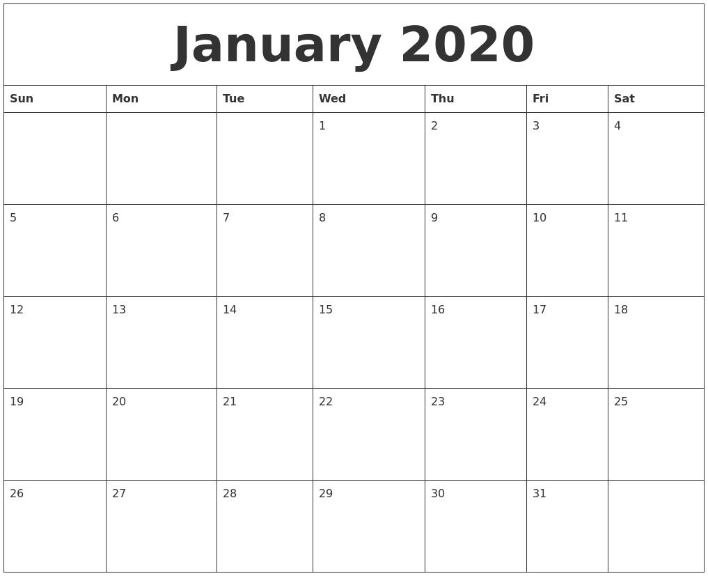 Blank January 2020 Calendar Fillable