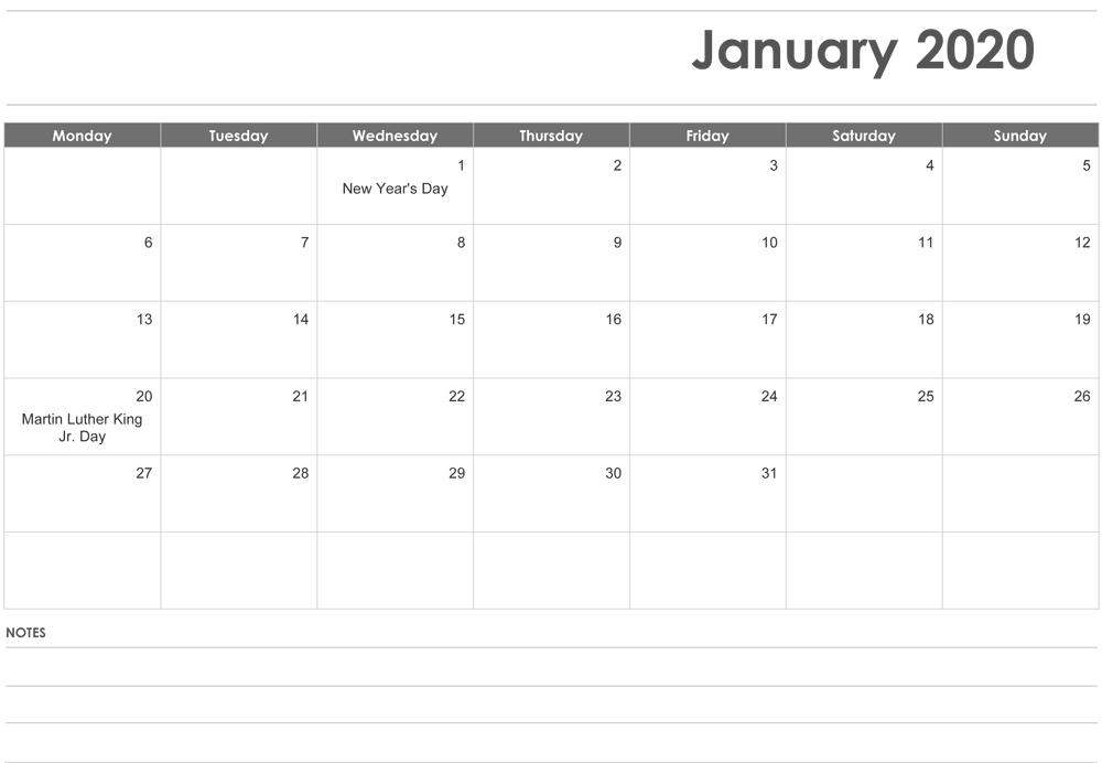 Blank January 2020 Fillable Calendar Templates