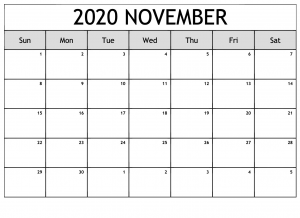 Blank November 2020 Calendar Fillable
