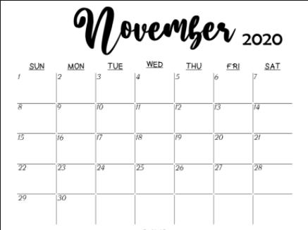 Blank November 2020 Calendar Printable
