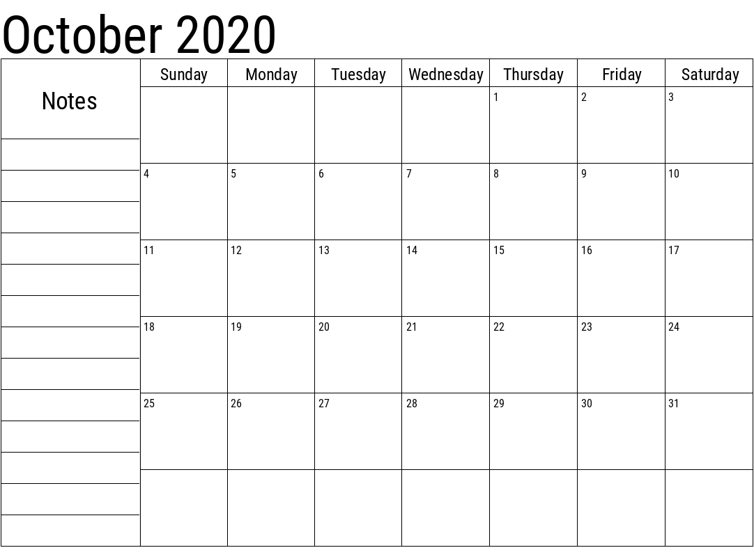 Blank October 2020 Printable Calendar