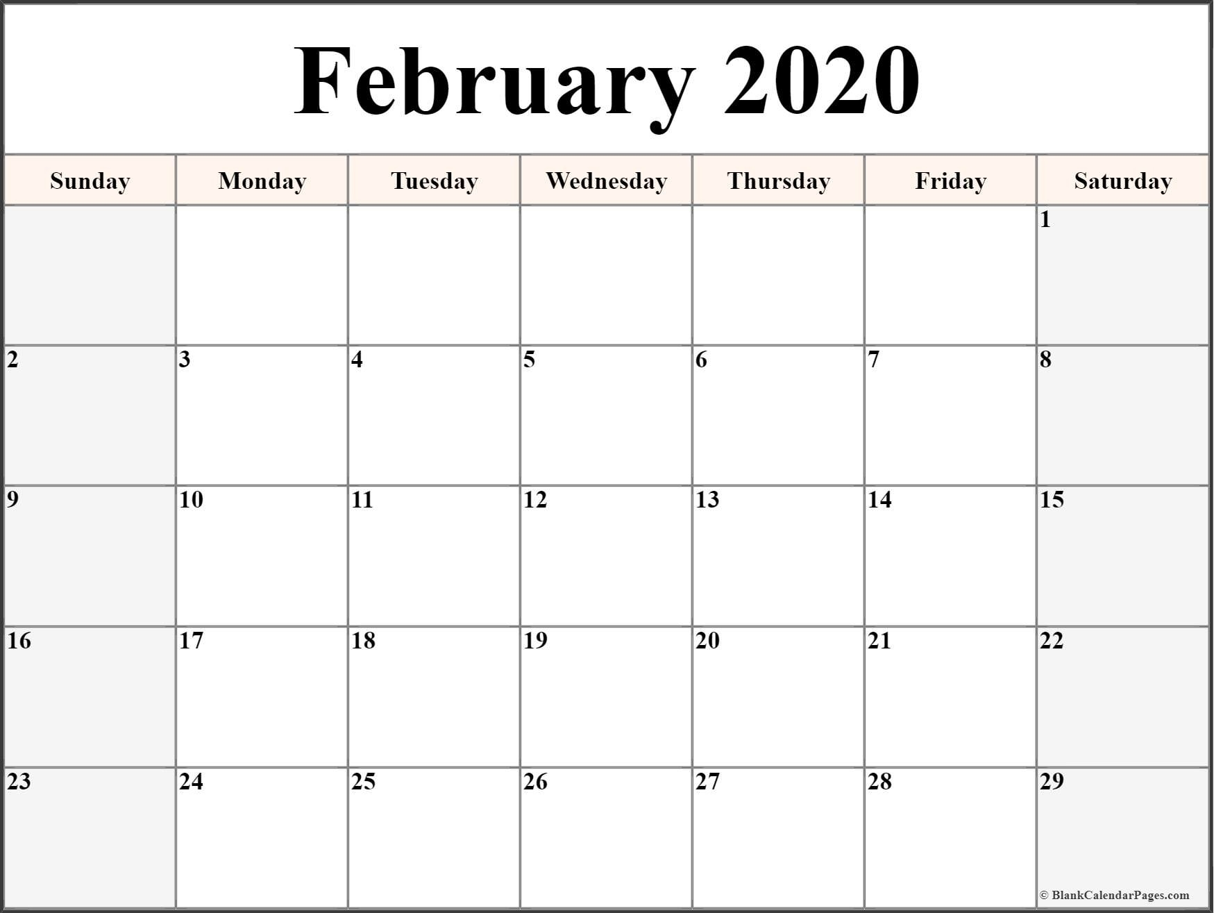 Calendar February 2020 with Dates