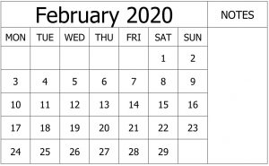 Calendar February 2020 with Notes