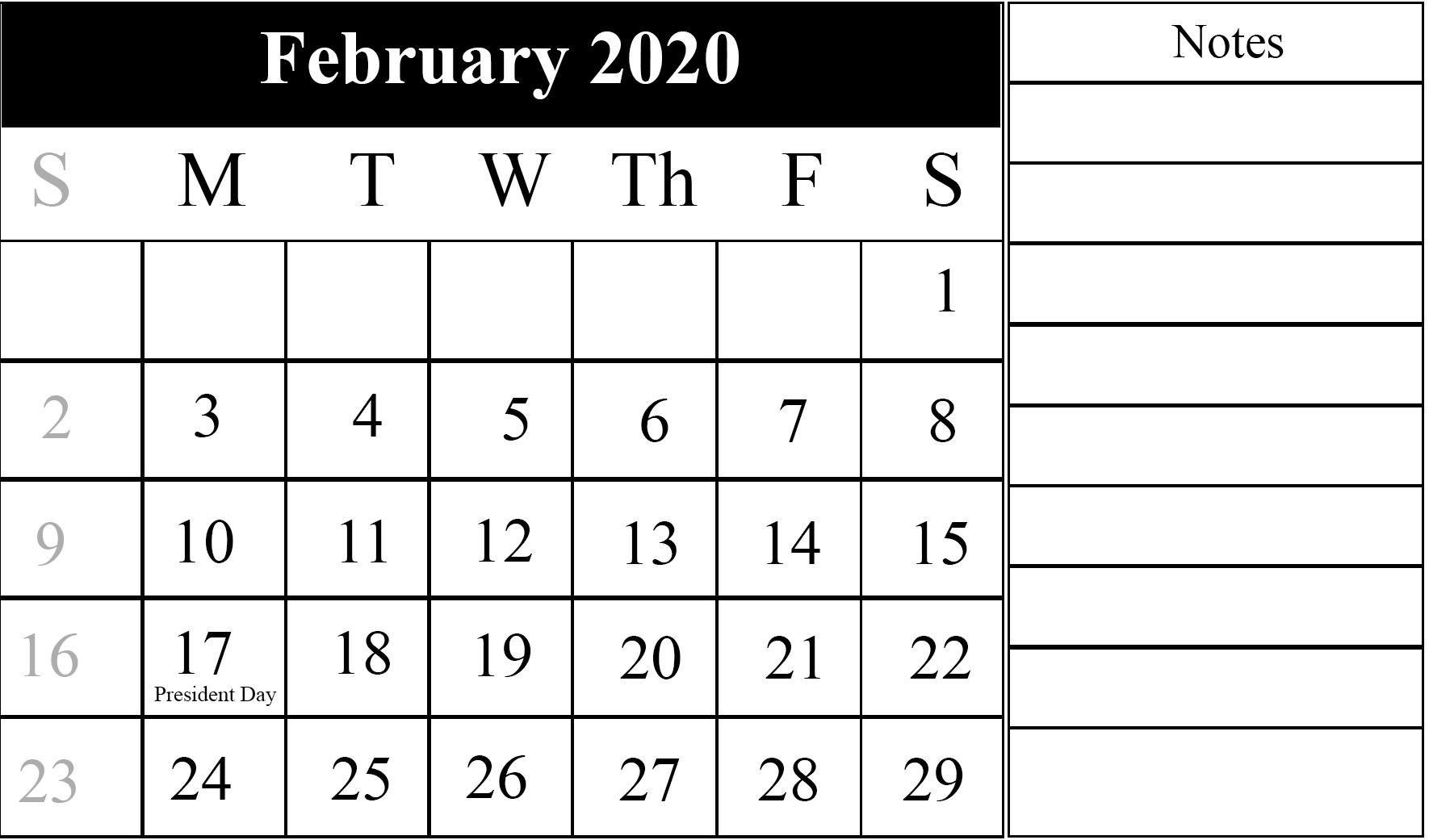 Calendar For February 2020 Printable