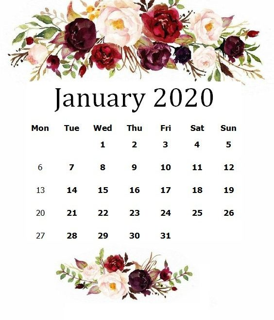Cute January 2020 Floral Calendar Sheet