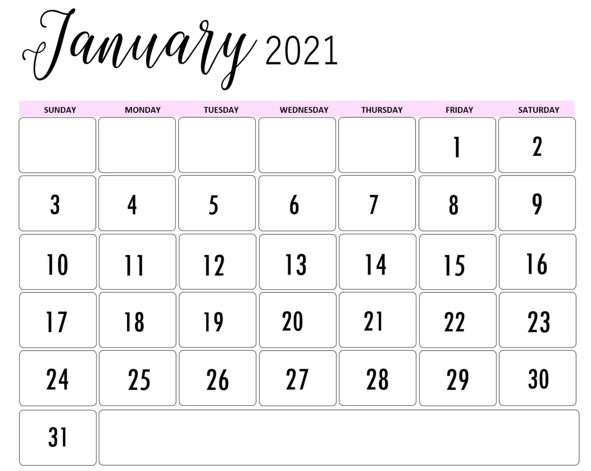 Cute January 2021 Calendar Printable Design