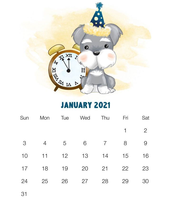Cute January 2021 Calendar Template