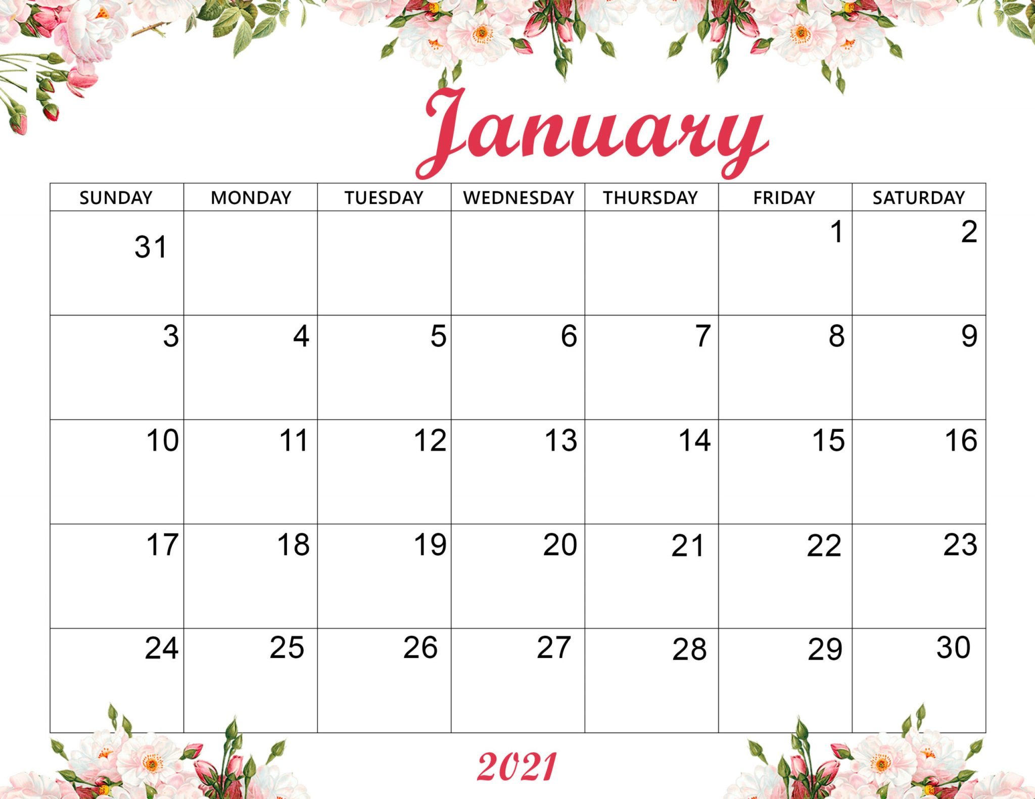 Cute January 2021 Calendar Wallpaper