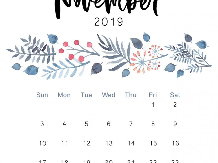 Cute November 2019 Calendar Designs