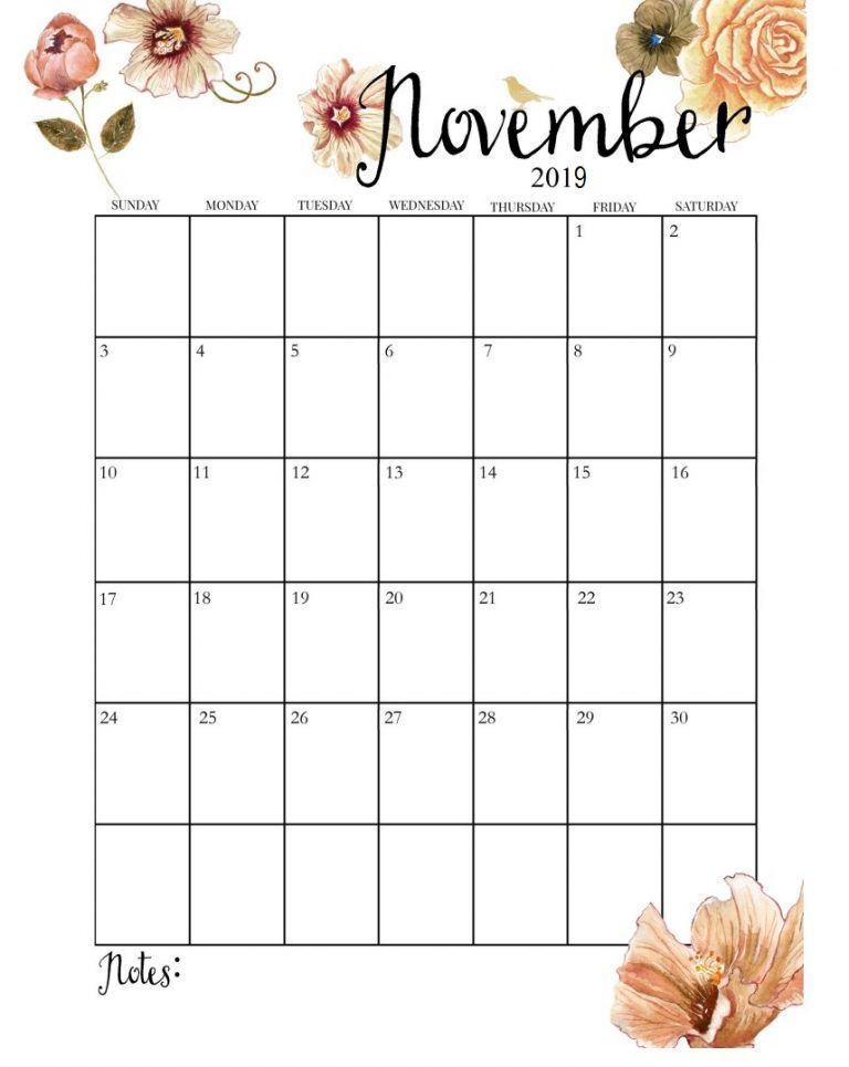 Cute November 2019 Calendar Floral