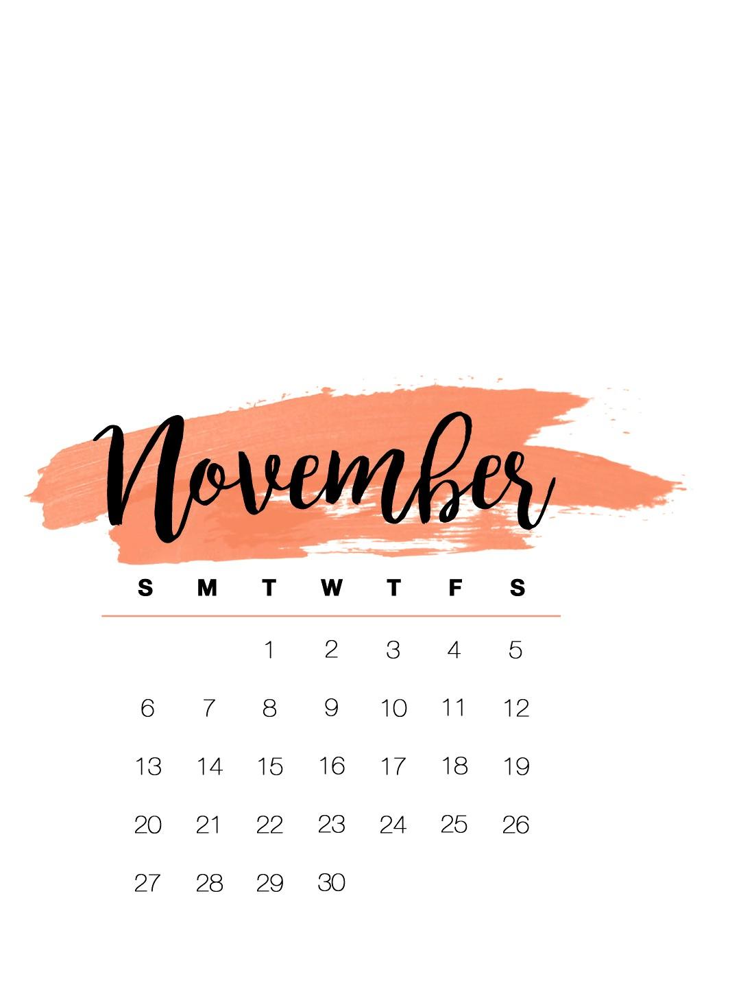 Cute November 2019 Calendar For iphone