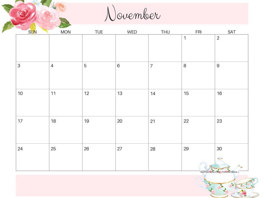 Cute November 2019 Calendar Images