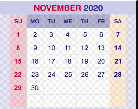 Fillable Calendar For November 2020