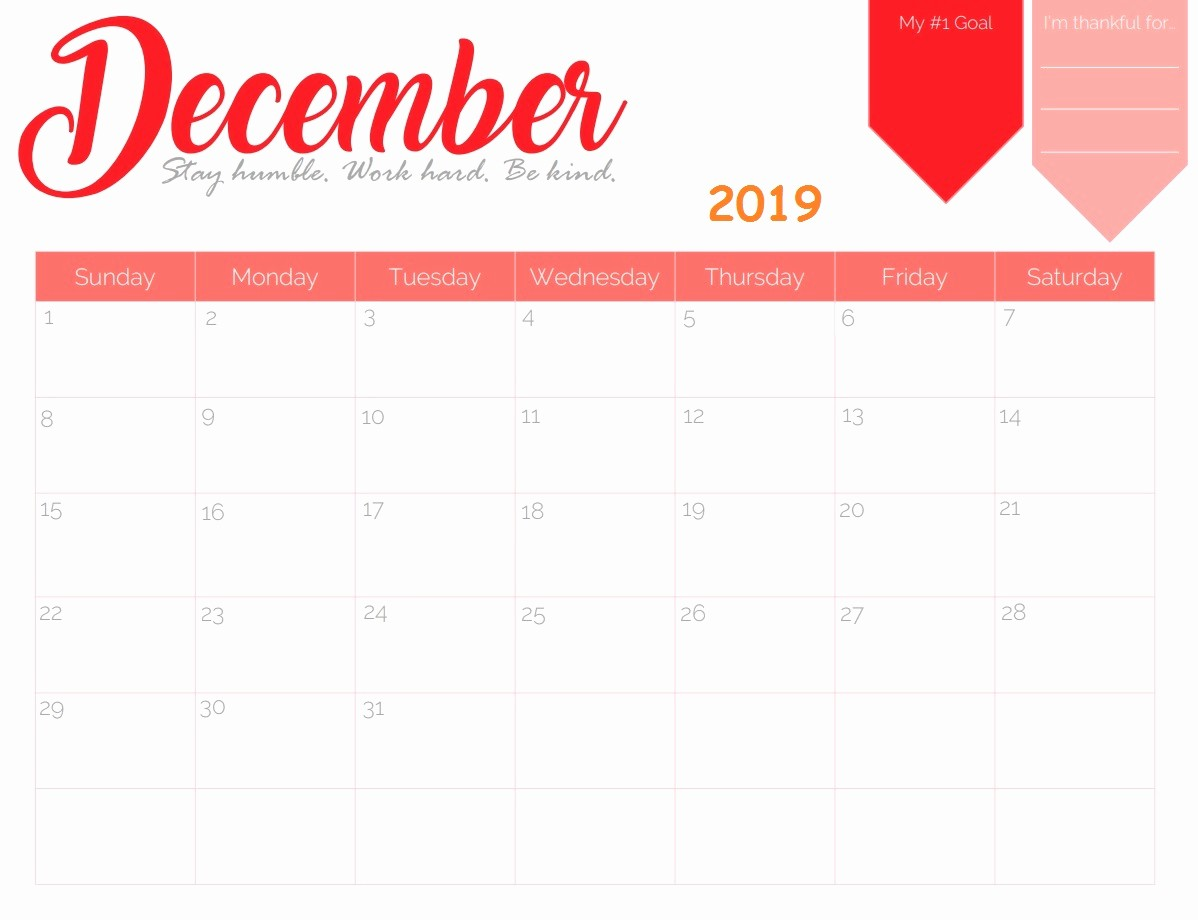 printable monthly calendar december 2019 Elegant Free Fillable Printable 2019 Calendar for December with Note