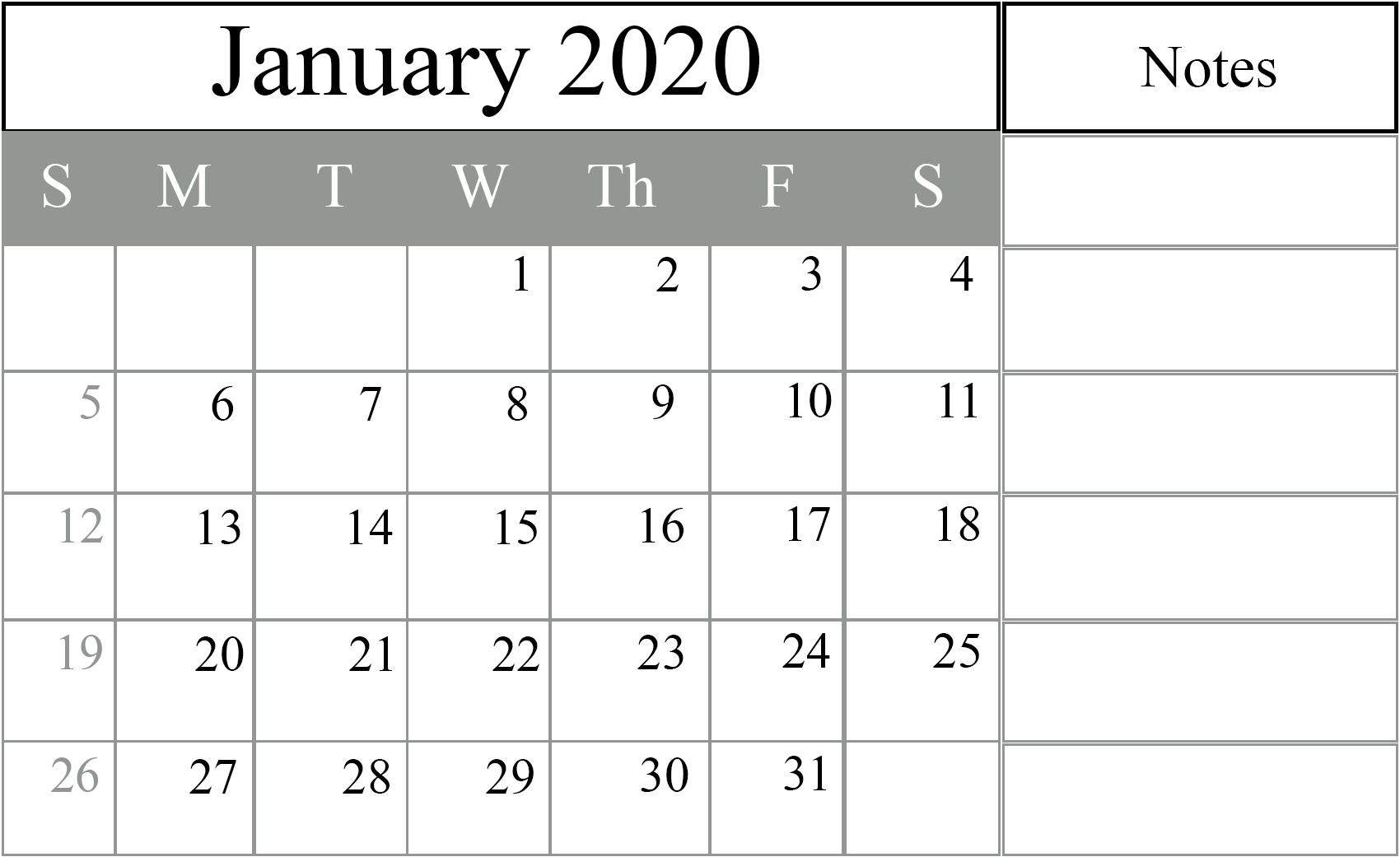 Fillable January 2020 Calendar Printable Template