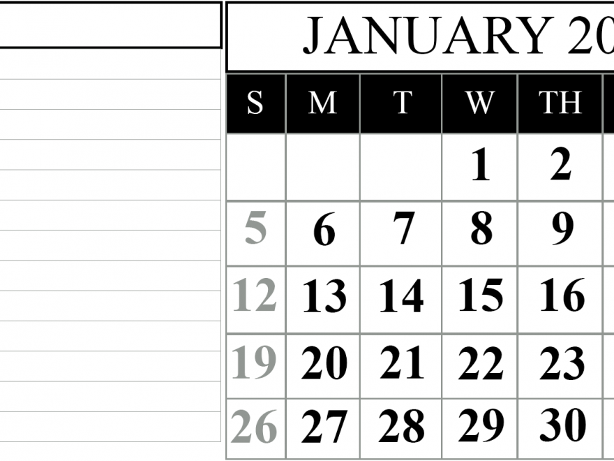 Fillable January Calendar 2020 with Notes