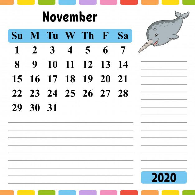 Fillable November 2020 Calendar