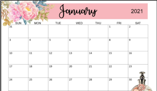 Floral January 2021 Calendar Wallpaper