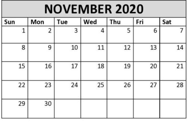 Free November 2020 Calendar Printable PDF