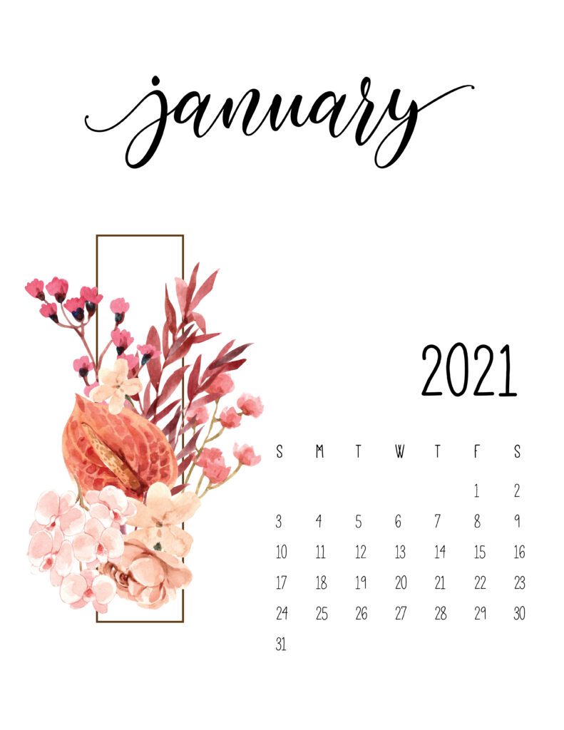 January 2021 Calendar Cute Design