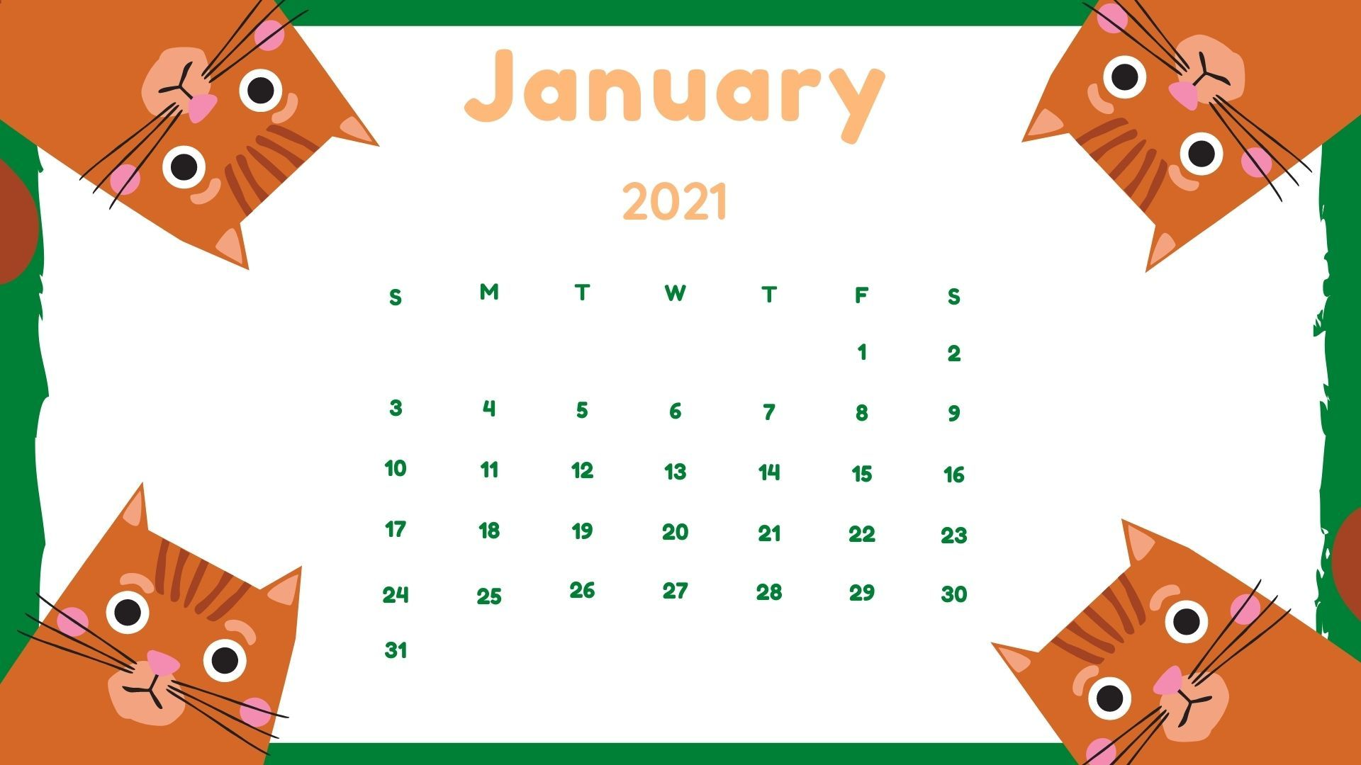 January 2021 Calendar Wallpaper For Desktop