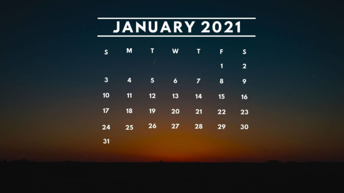 January 2021 Cute Calendar Floral Wallpaper For Desktop, Laptop, IPhone