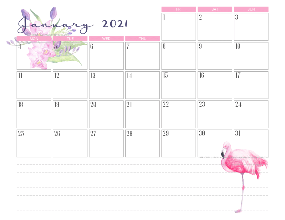 January 2021 Cute Calendar Printable