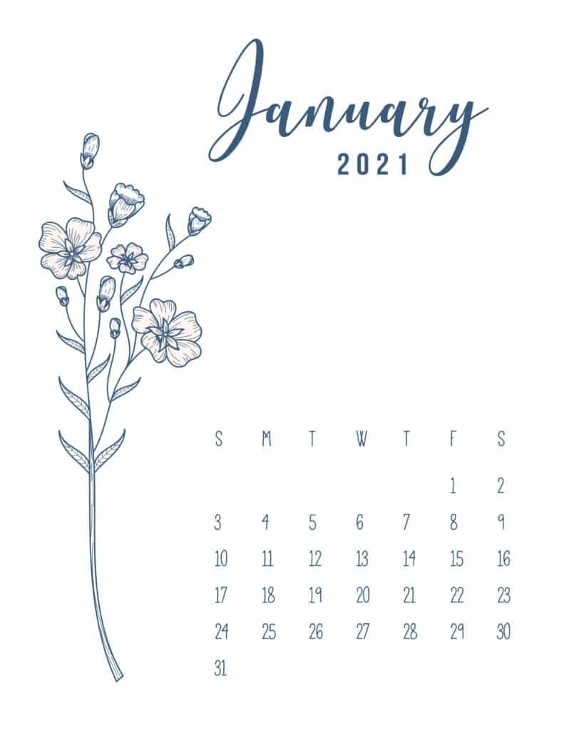 January 2021 Floral Cute Calendar