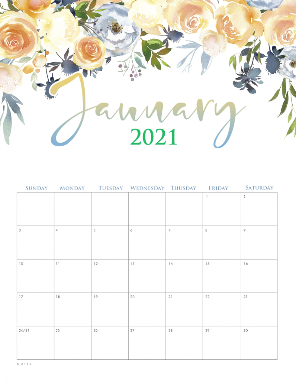 January Printable Calendar 2021 Cute Planner