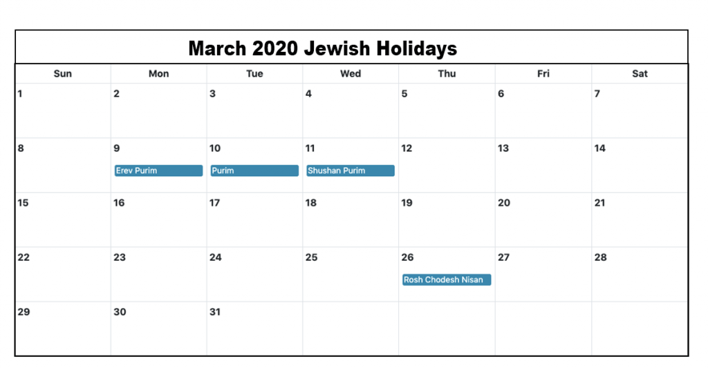 Jewish Holidays March 2020 Calendar