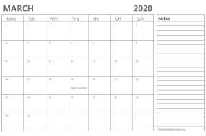 March 2020 Calendar with Holidays and Notes