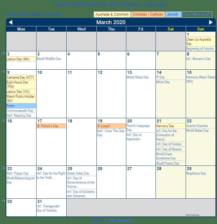 March 2020 Holidays Australia