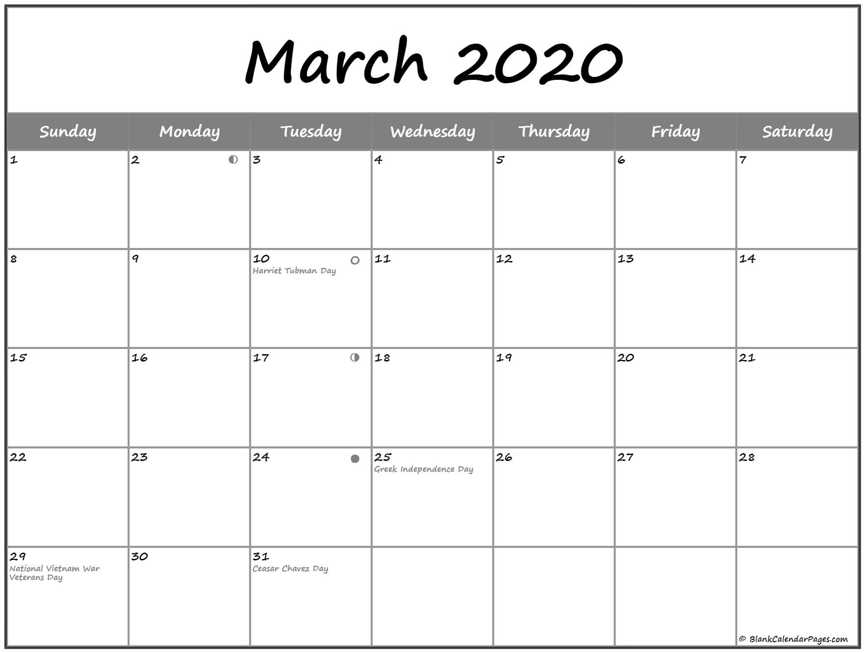 March 2020 Lunar Calendar with Moon phases