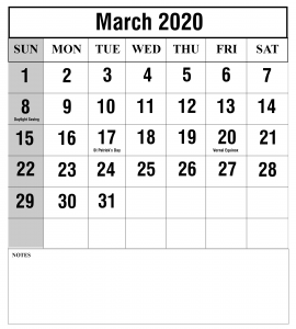 March Calendar 2020 Holidays with Dates