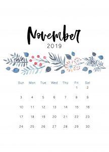 November 2019 Floral Cute Calendar