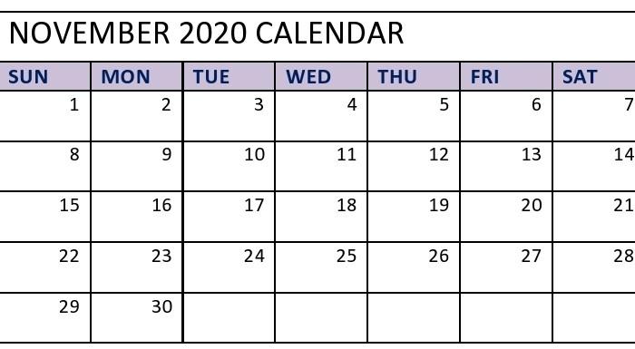 November 2020 Calendar Landscape