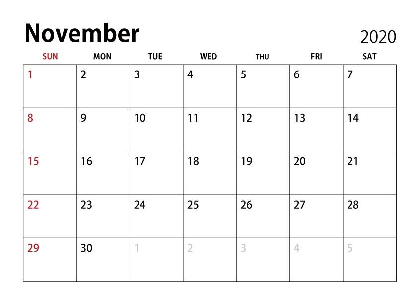 November 2020 Calendar PDF Word Excel