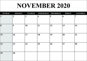 November 2020 Calendar Template Word