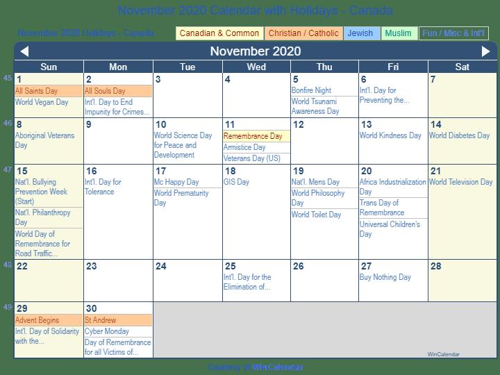 November 2020 Calendar with Holidays Canada