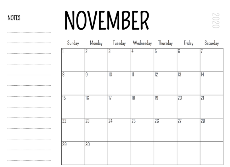 November 2020 Fillable Calendar Printable Template