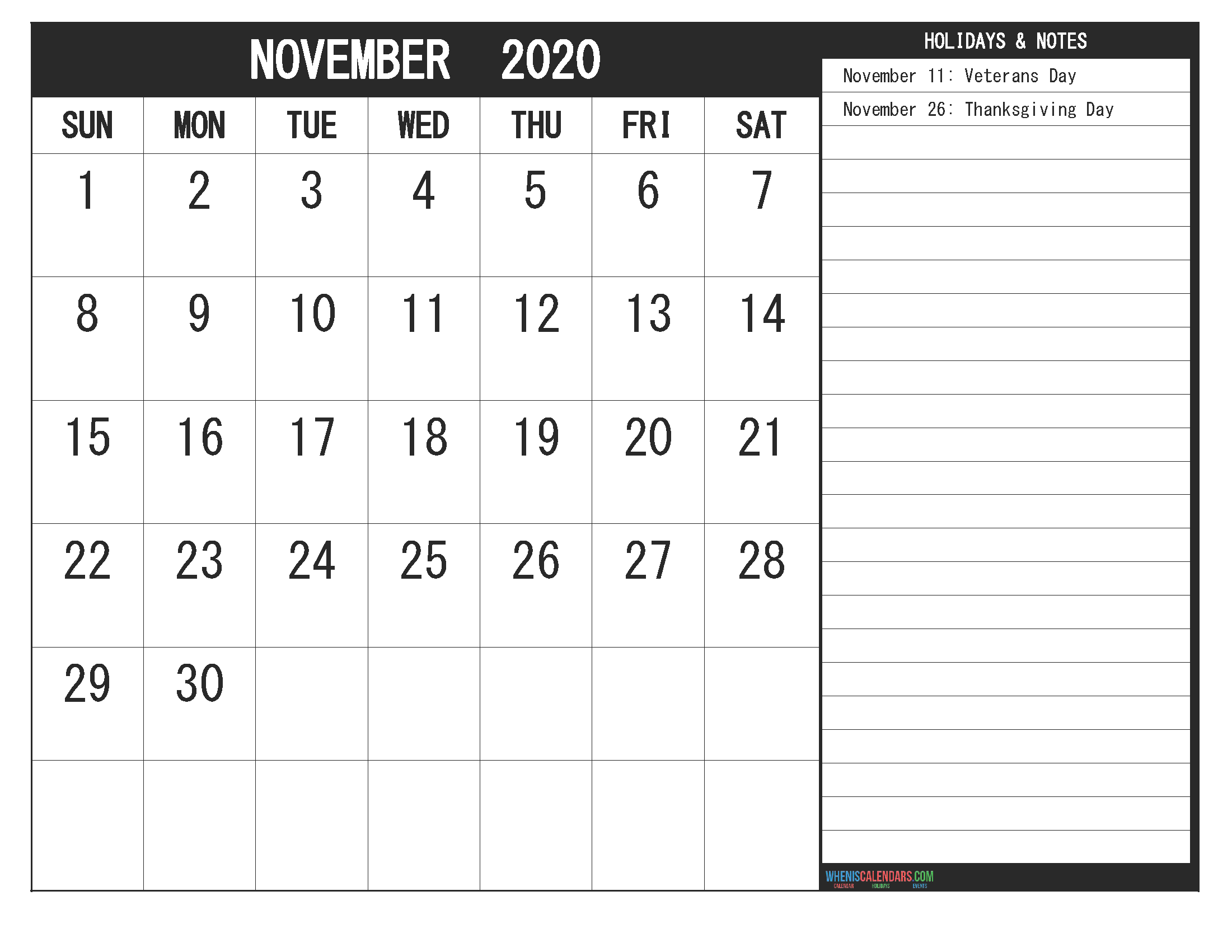 November 2020 Fillable Calendar