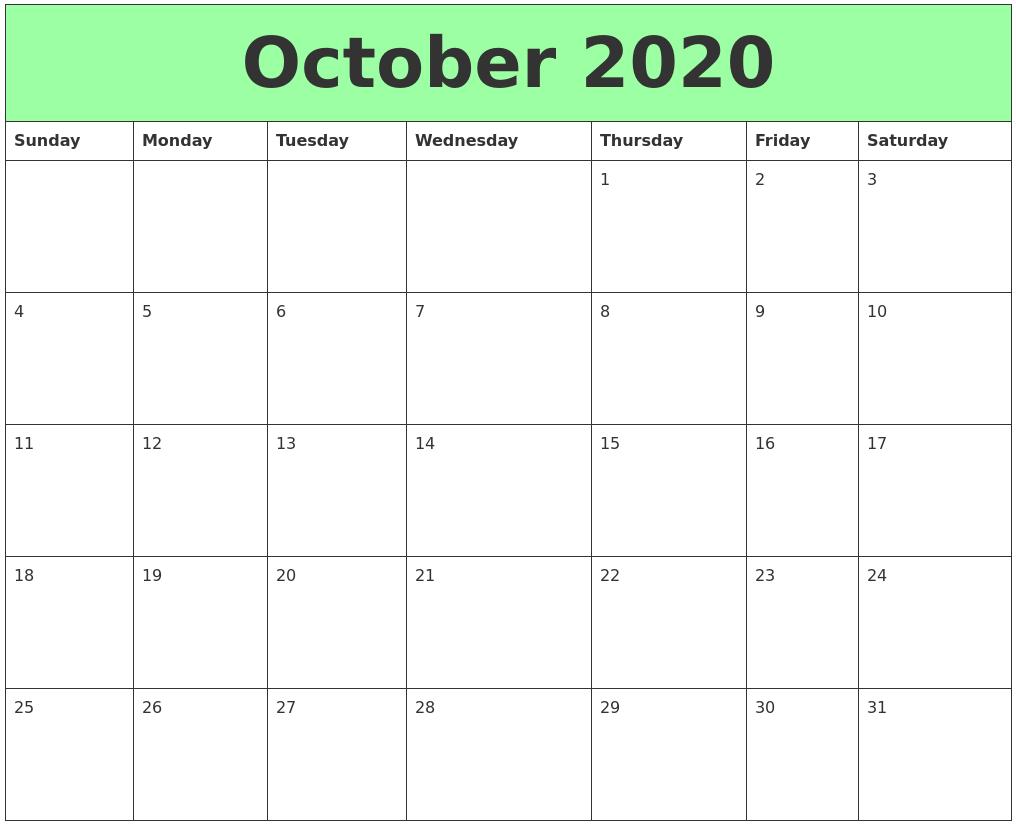 October 2020 Calendar A4 Letter