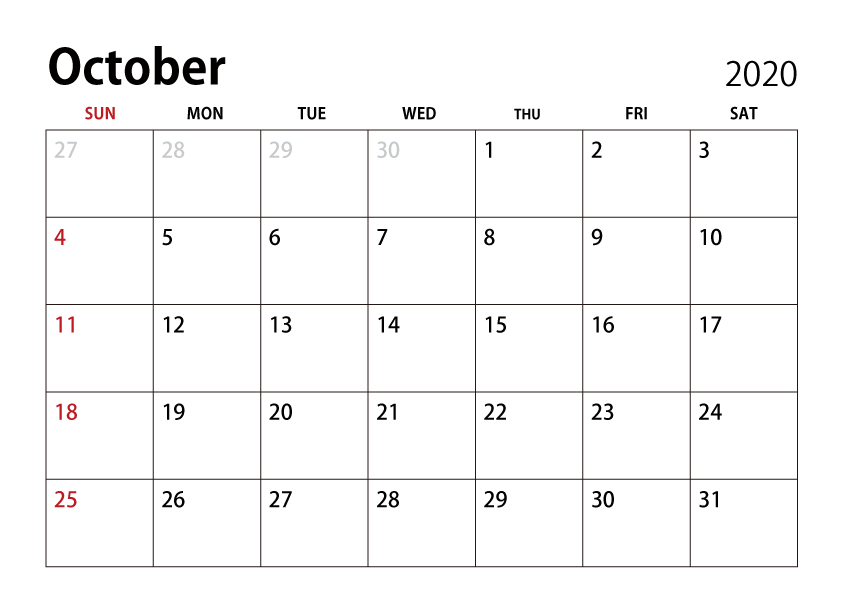 October 2020 Calendar Free Download