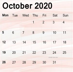 October 2020 Calendar Printable Design