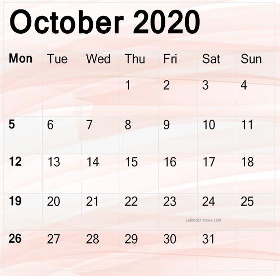 October 2020 Calendar Printable Design