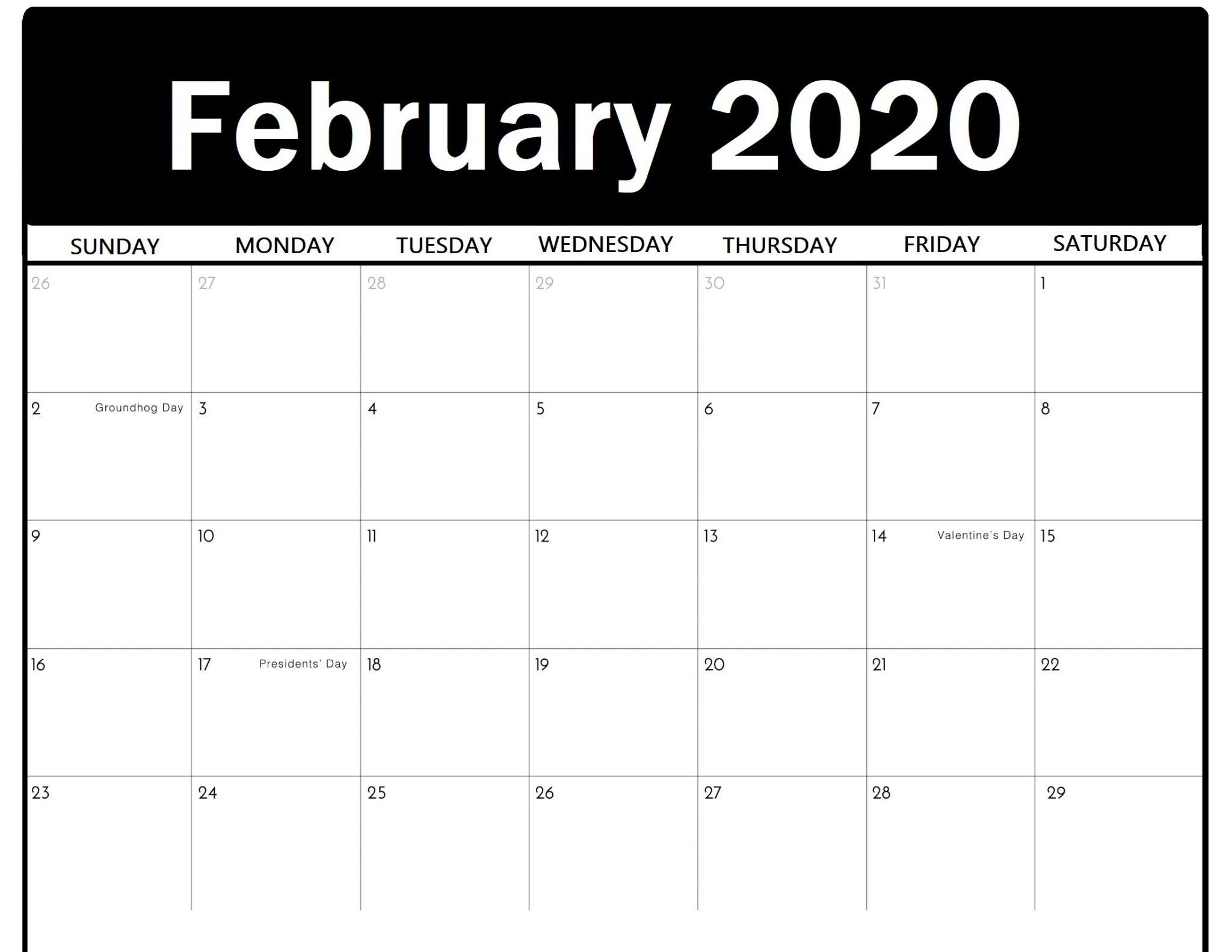 Print Calendar of February 2020 PDF