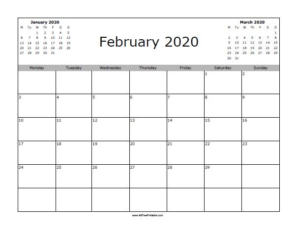 Printable Calendar For February 2020