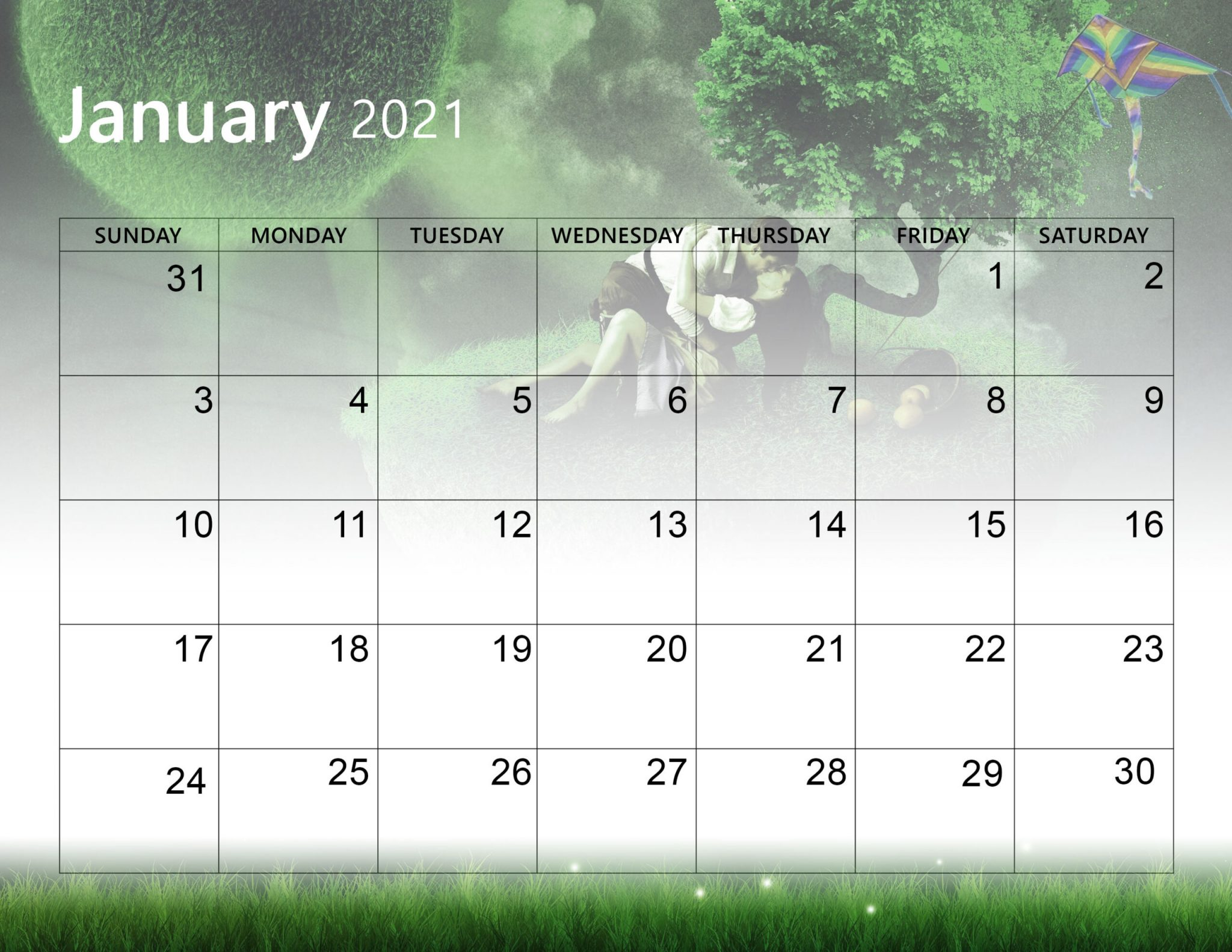 Printable Cute January 2021 Calendar