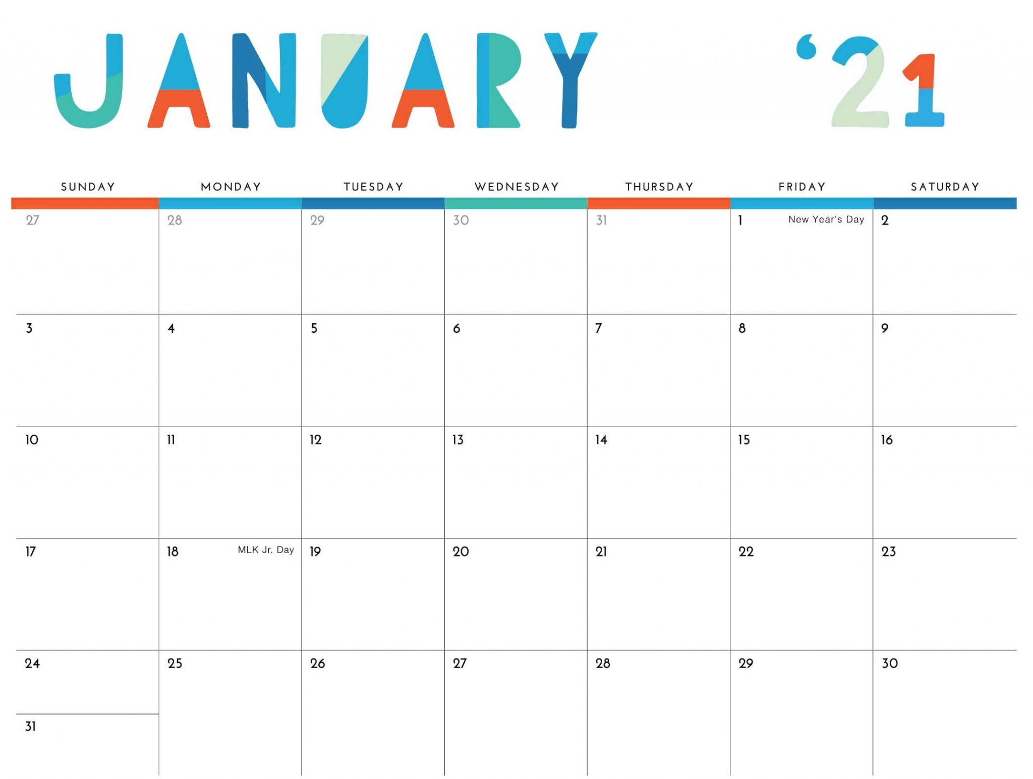Printable January 2021 Calendar Cute