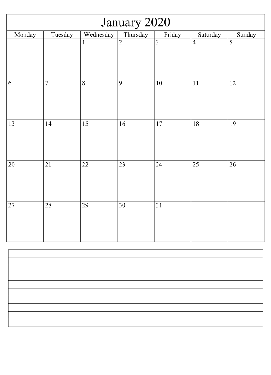 Printable January Calendar 2020 Fillable with Large Space